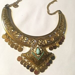 NEW BOHO gold necklace with faux turquoise stones